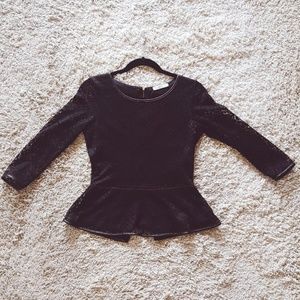Black Lace Peplum Top with Faux Leather Piping